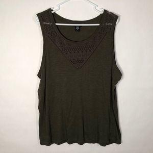 Torrid Plus Size 0X Tank Top Olive Green Lace 821